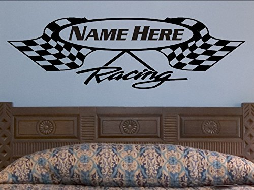 Crossed Checkered Flag Wall Decal Personalized Racing Flags Wall Sticker Nursery Man Cave Decoration Boys Bedroom Race Theme Decor Bed -