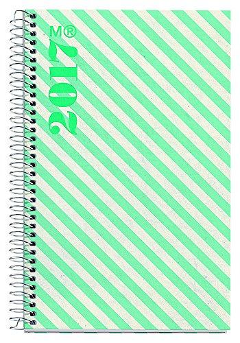 Miquelrius 38051 - Agenda anual espiral, 117 x 182 mm, día página rayas verdes colorear
