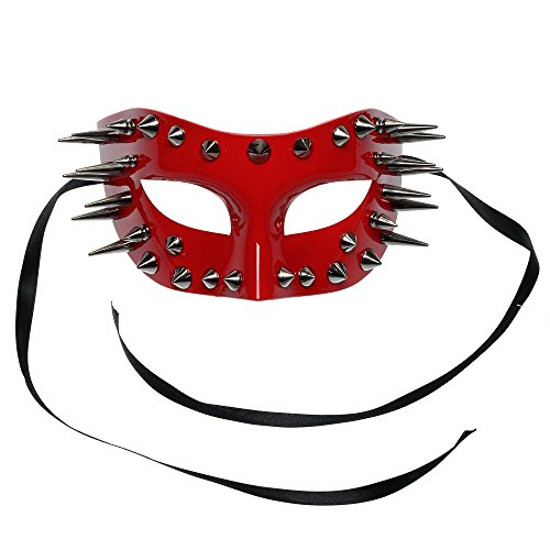 ILOVEMASKS Steampunk Spikes Venetian Masquerade Eye Mask - Glossy Red (Venetian Eye Mask)