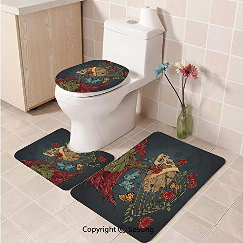 - 3pcs/Set Skull Style Soft Comfort Flannel Toilet Mat,Evil Mexican Sugar Skeleton with Kitsch Bush of Roses Snake and Butterfly Artwork,Plush Bathroom Decor Mat with Non Slip Backing,Ruby Dark Grey