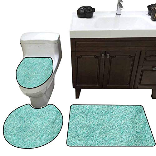 - Bathroom Carpet Cover Teal Abstract Design Leaves Plants Wavy Tangled Pattern Doodle Style Monochromic Artwork Print U-Shaped Toilet Mat Green