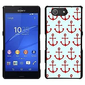 EJOY---Cubierta de la caja de protección para la piel dura ** Sony Xperia Z3 Compact ** --Patrón de Navegación Rojo Mar Marinero Barco