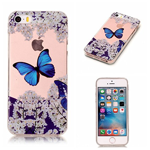 Leecase Crystal Clear Slim Fit Cute Blue Butterfly White Flower Design Soft Gel Silicone Bumper Ultrathin Tpu Rubber Case Cover for iPhone 5C-Blue Butterfly White Flower