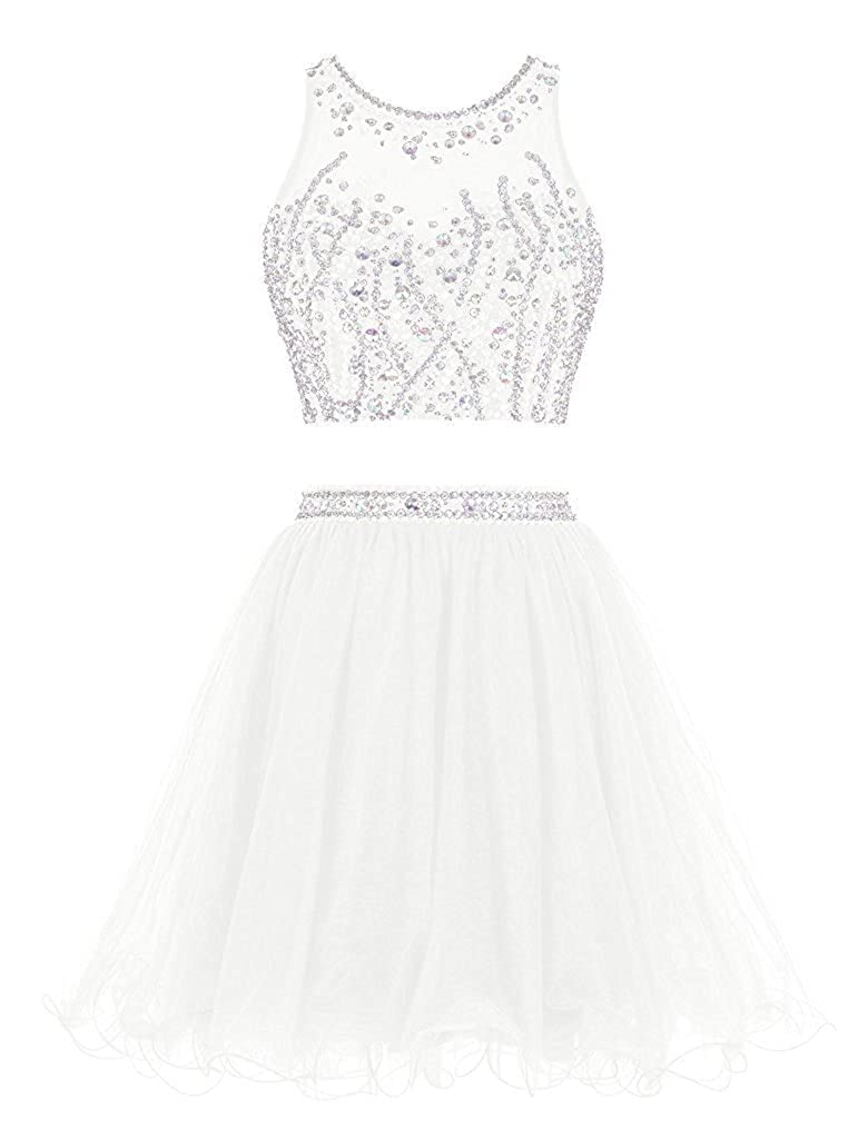 Ivory APXPF Women's Short Two Pieces Organza Beaded Cocktail Party Bridesmaid Dress