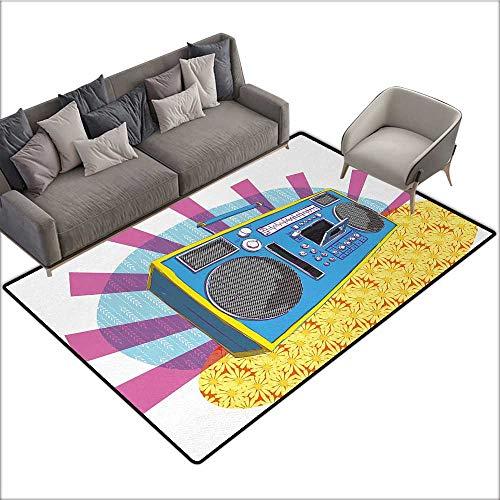 - 70s Party Custom Pattern Floor mat Retro Boom Box in Pop Art Manner Dance Music Colorful Composition Artwork Print 70