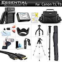 "Essential Accessory Kit For Canon EOS Rebel T5, T3, T6 Digital SLR Camera Includes Replacement LP-E10 Battery + AC/DC Charger + Case + Remote Switch + 57"" Tripod + 10"" Flexible Tripod + Monopod + More"
