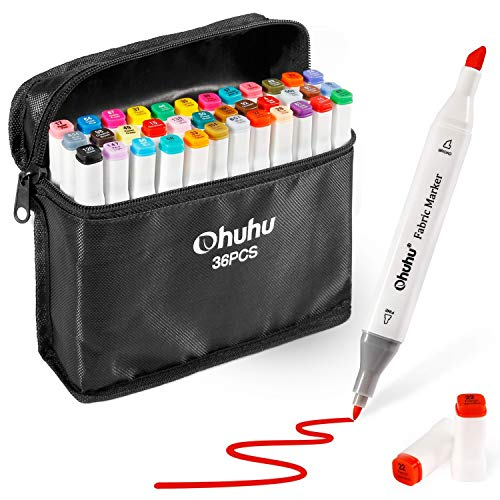 Fabric Markers Permanent 36 Colors of Ohuhu Dual Tip Fabric Paint Marker Pens for DIY Christmas Costumes, T-Shirt, Clothes, Shoes, Bags & Other Fabric Materials, Child Safe, Water-Based & Non-Toxic ()