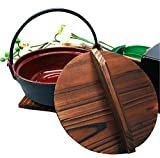 Ebros Japanese Cast Iron Sukiyaki Nabemono Personal Size Hot Pot With Wooden Lid