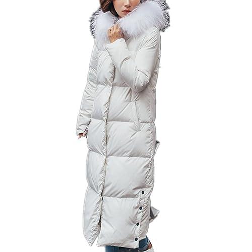 Chaqueta larga con capucha y doble botonadura gruesa con capucha y capucha decorada con piel sintética