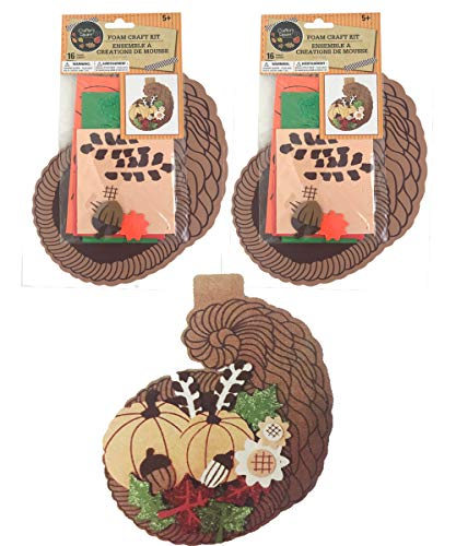 Thanksgiving Foam Craft Kit for Kids 16 Piece - Cornucopia - Set of 2