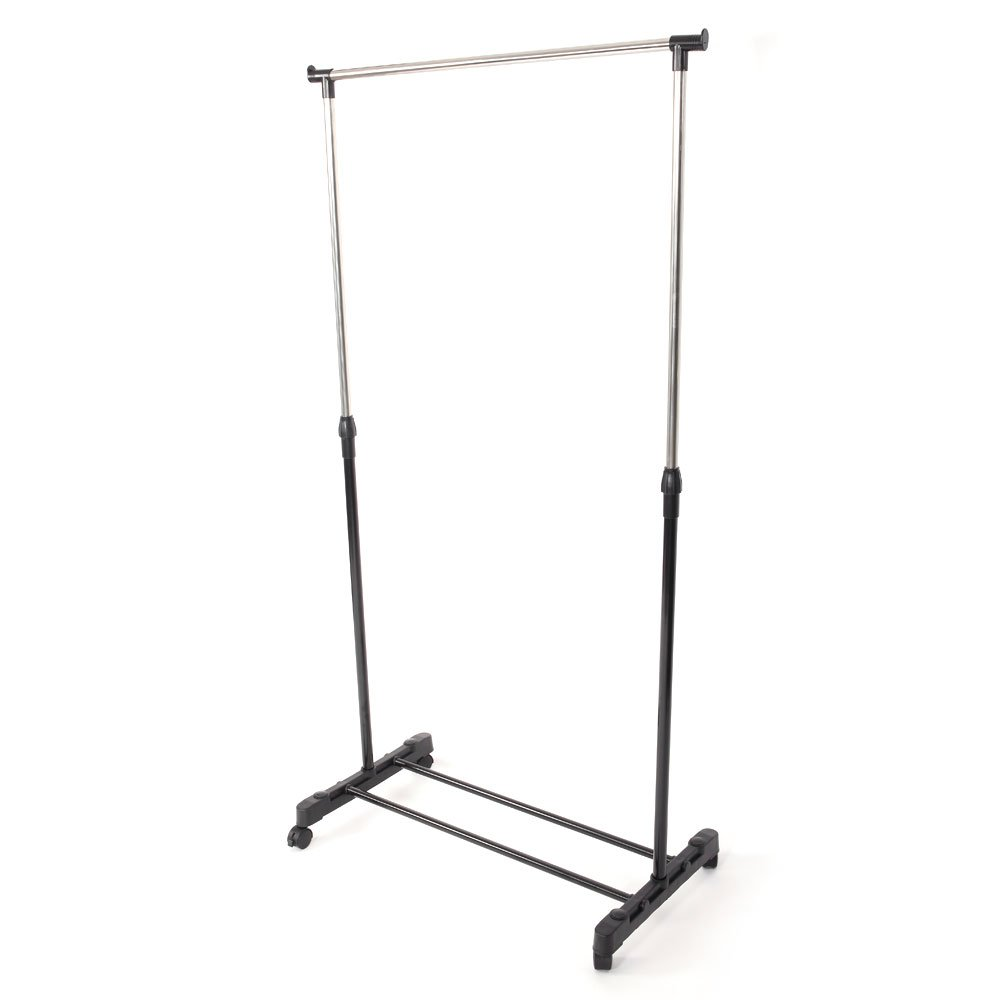 Detailorpin Vertical & Horizontal Stretching Stand Clothes Rack with Shoe Shelf YJ-01 Black & Silver(US Stock) (Single-bar)