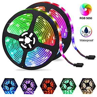 LED Light Strips 32.8ft, Color Changing RGB LED Strip Lights for Room 10M Waterproof Flexible Neon Tape Lights, Dimmable Rope Lights 5050 with Remote 12V for Bedroom Decoration