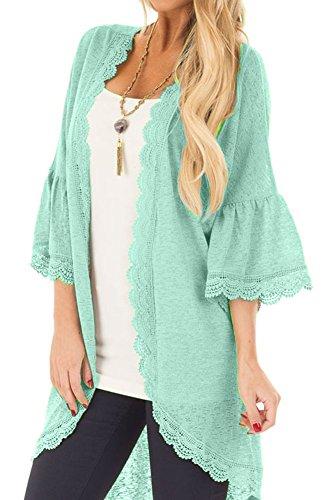 Women's 3/4 Ruffle Bell Sleeve Kimono Cardigan Cover up (Green, S)