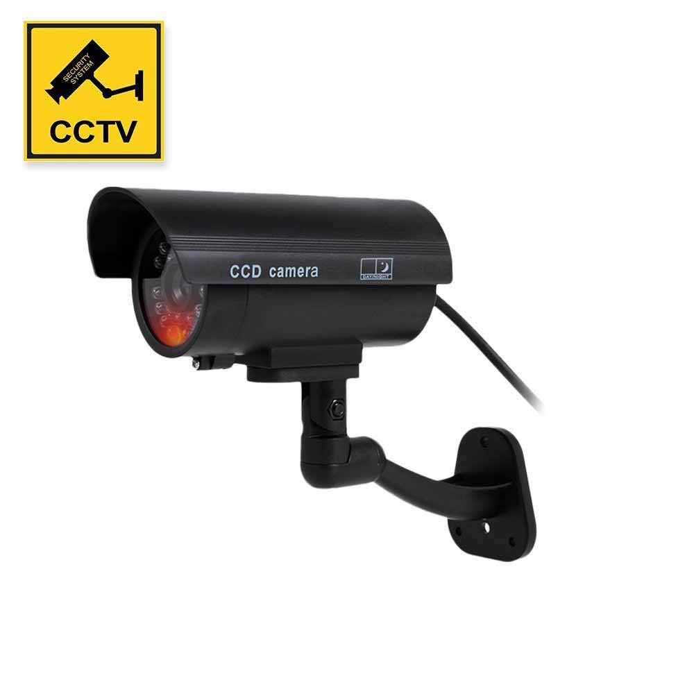 Dummy Camera, Fake Simulated Security Cameras Built in Light LEDs Flashing for Outdoor or Indoor Home and Business Surveillance Bonus CCTV Warning Sticker Decals by YESKAMO