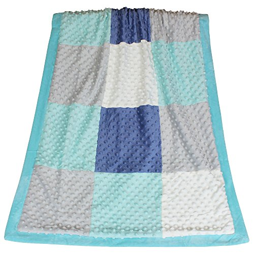 Mosaic Minky Dot Patchwork Baby Blanket by The Peanut -