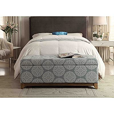 HomePop Large Upholstered Storage Bench with Hinged Lid, Teal - Features a Medallion Pattern with hinged lid Wooden legs in a light driftwood Finish Some assembly required - entryway-furniture-decor, entryway-laundry-room, benches - 51o 06rqSaL. SS400  -