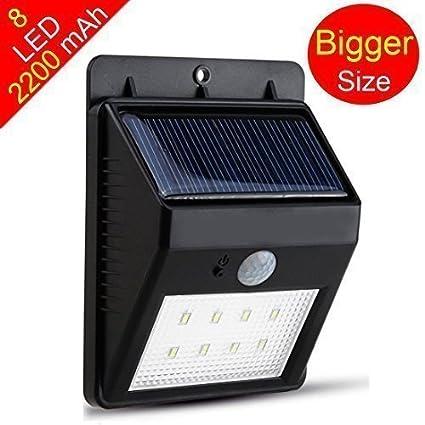 SUNZONE lámpara solar 8 LED luz de energía économisé inalámbrico con detector de movimiento (impermeable