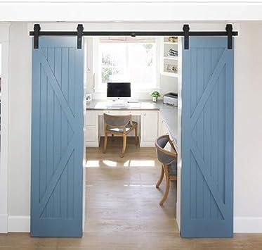 Carril de servicio pesado resistente madera de la puerta de hardware, Deslizar Track System granero puerta del armario de hardware (Size : 2.5M-Single door(splice)): Amazon.es: Bricolaje y herramientas