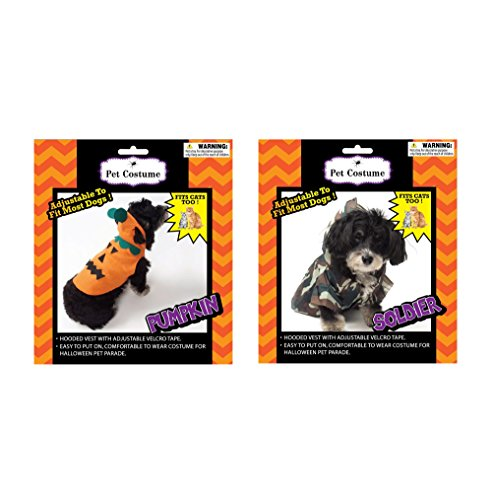 Fun Cat Costumes (Halloween Pet Costume set of 2 for Cats and Small Dogs (Pumpkin & Camo Soldier))