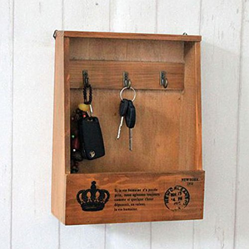 Katoot@ Creative Retro Key Holder Wooden Storage Box Zakka Sundries Hook Storage Wall Hanger Home Decoration (chocolate)