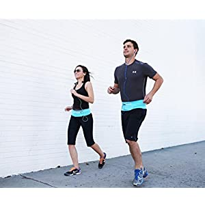 Terra Outdoor Running Fuel Belt & Fitness Workout Belt for iphone 7 6 6s 5 SE - Best Exercise Waist Pack - Sports Travel Money Belt - Fanny Pack Runner Safety Reflective Waist Belt with Pockets
