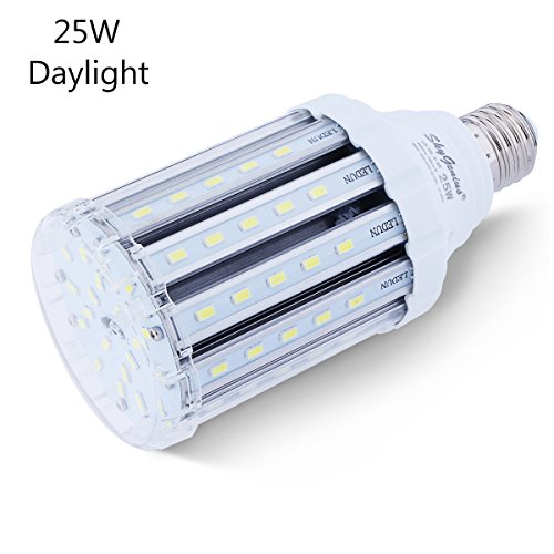 25W Daylight LED Corn Light Bulb for Indoor Outdoor Large Area - E26 2500Lm 6500K Cool White,for Street Lamp Post Lighting Garage Factory Warehouse High Bay Barn Porch Backyard Garden Super (Outdoor Led)