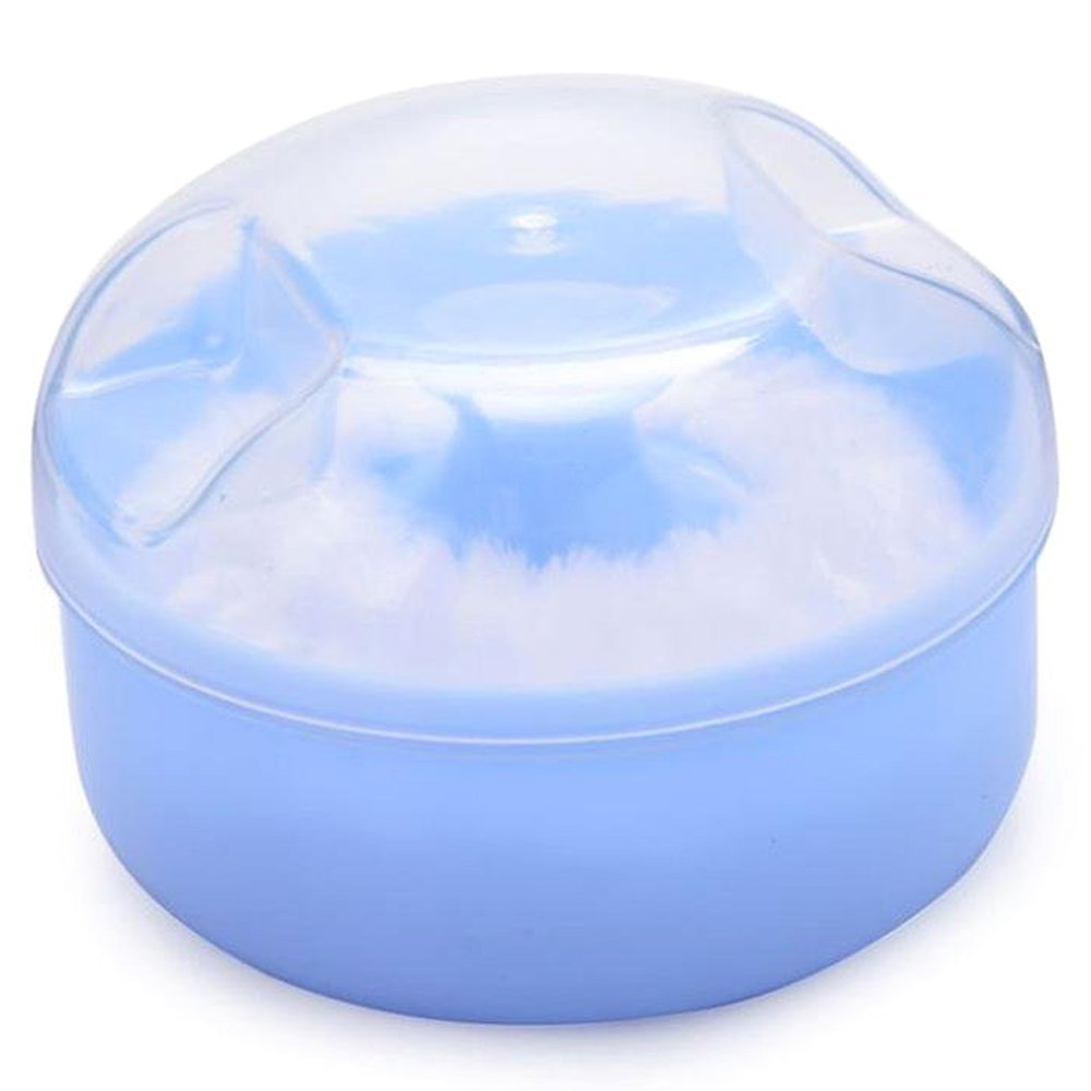 Box - SODIAL(R)Baby Soft Face Body Cosmetic Powder Puff Sponge Box Case Container (Blue) AXSSD-000857