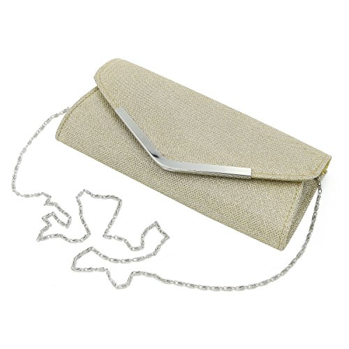 Premium Metallic Glitter Flap Clutch Evening Bag, Gold