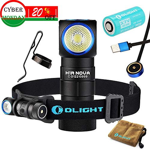 Olight H1R CREE XM-L2 LED 600 Lumens Rechargeable Headlamps with RCR123A Battery(Cool White)