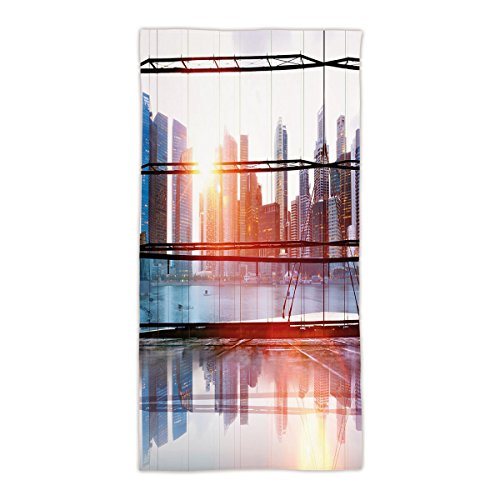 "31.49""W x 62.99""L Cotton Microfiber Bath/Hand Towel,Office Decor,Modern City View with Skyscrapers Vibrant Sunset River Empty Place,Black White and Orange,Ultra Soft,For Hotel Spa Beach Pool Bath"