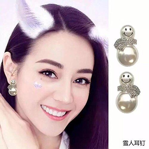 Ja and South Korea temperament fashion jewelry S925 Silver Needle size wild pearl earrings cute snowman delicate earrings Generic