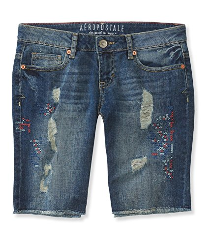 Aeropostale Womens Destroyed Denim Casual Bermuda Shorts, Blue, 000 - Bermuda Aeropostale