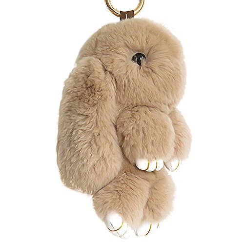 DJHbuy Cute Rex Rabbit Fur Fluffy Bunny Pompom Ball Doll Keychain Car Bag Keyring