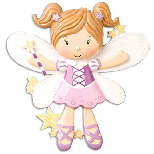 Personalized Fairy Christmas Ornament for Tree 2018 - Cute Beautiful Pixie Girl in Pink Dress Butterfly Wings Wand - Tale Baby Girl Treasure Kid Toy Doll Magic Spirit Elf - Free Customization by Elves
