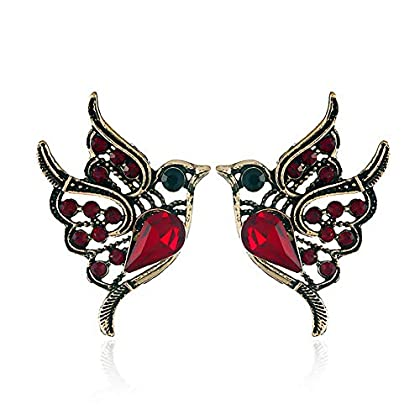 Punk Green Enamel Crystal Hummingbird Bird Stud Earring for Women Colorful Metal Animal Studs Earrin...