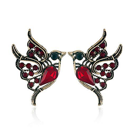 Punk Green Enamel Crystal Hummingbird Bird Stud Earring for Women Colorful Metal Animal Studs Earring Statement Jewelry (Flamingo)