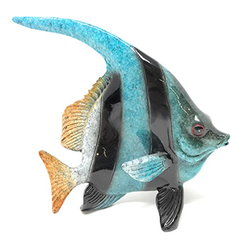 Green Tree Resin Blue and Black Tropical Angel Fish, Indoor Outdoor Décor, 5 Inches Long