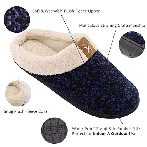 Shoes Outdoor Wool Like House Plush Men's Royal Lined amp; Blue Fleece Indoor ULTRAIDEAS Foam Comfort Slippers Memory n6qTAXp