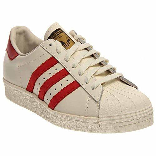 Adidas Men\u0027s Originals Superstar 80s DLX Size 9.5 Vintage White/Scarlet