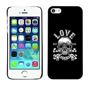 KLONGSHOP // Cubierta de piel con cierre a presión Shell trasero duro de goma Protección Caso - Máquina de amor - iPhone 5 / 5S //
