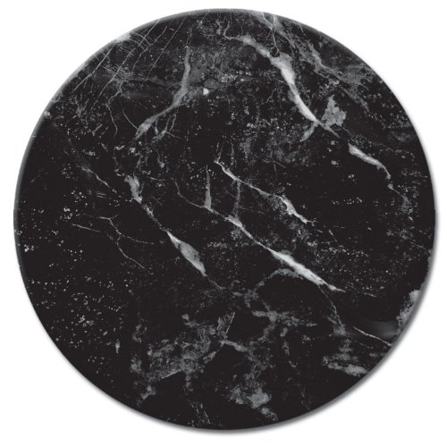 - CounterArt Glass Lazy Susan Serving Plate with Black Marble Design