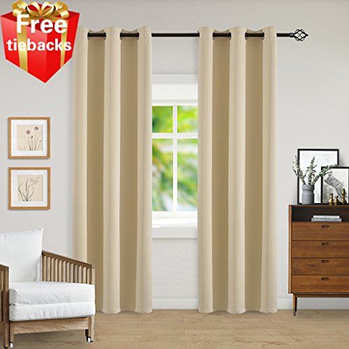 Light Blocking Beige Blackout Curtains Room Darkening Thermal Insulated Decorative Curtain Panels/Drapes Solid Grommet Top for Bedroom/Living room/Kids by Yakamok , Set of 2 Panels 42x84 Inch (60 Curtains 90 X)