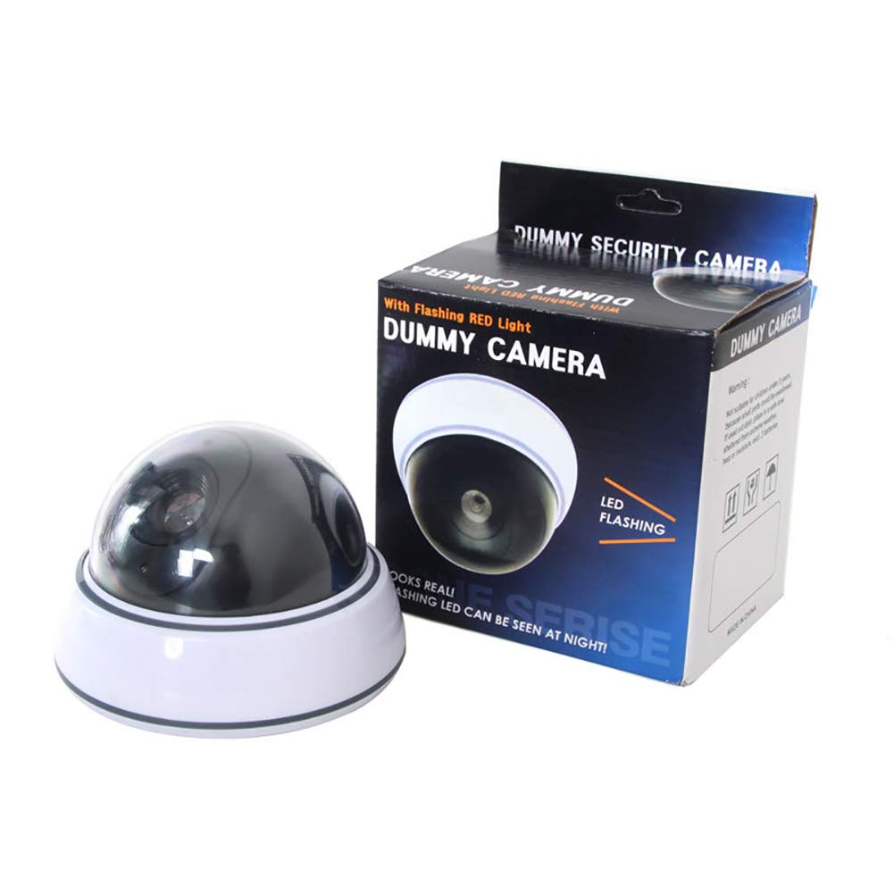 QLPP Fake Security Camera,CCTV Dome Dummy Camera,with Realistic Look Recording Flashing Red LED Light,Indoor and Outdoor Use, for Homes Business,4pack by QLPP (Image #2)