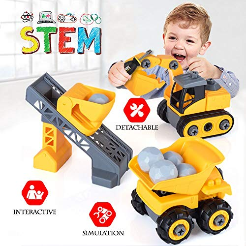 Engineering Construction Vehicles Playset, Take Apart Truck Toy, Assembly Dump Truck, Excavator W/ Screwdriver, STEM Learning Gifts for Kids, Toddlers, Boys, Children 3 4 5 6 Year Old