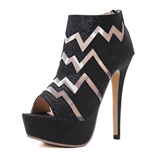 Haut Talon Imperméable Slim Gao black Chaussures Plate forme Poisson Bang Femmes Simple Bouche 37 Show fqwqxRCIX