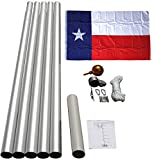 20′ Aluminum Sectional Flag Pole Kit with 3×5 Ft Polyester TEXAS Flag