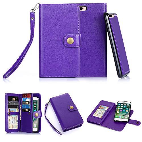 iPhone 7 Plus Case,iPhone 8 Plus Case, TabPow 10 Card Slot - [ID Slot][Button] Wallet Folio PU Leather Case Cover With Detachable Magnetic Hard Case For iPhone 7 Plus/ 8 Plus (5.5 Inch) - Purple