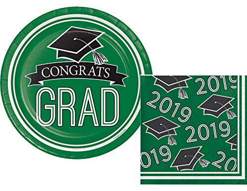 2019 Graduation Party Supply Pack for 18 Guests - Bundle Includes Paper Dessert Plates & Napkins in School Spirit Colors (Green)