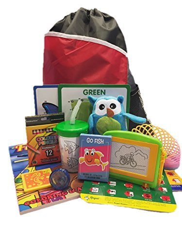 Travel Activity Bag Kit for Kids - Keep Preschool Children Busy in the Airplane orCar. For Boys or Girls Age 4-8. Backpack, Toys, Games, Crafts, Travel Cup and More. 12 (Age 4 Card)