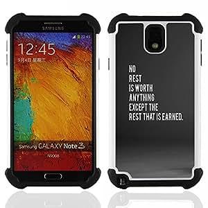 SAMSUNG Galaxy Note 3 III / N9000 / N9005 - 3 en 1 impreso colorido de Altas Prestaciones PC Funda chaqueta Negro cubierta gel silicona suave ( sauf le repos qui est gagné)